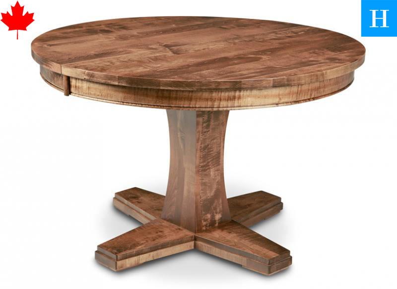 Solid wood pedestal round tables stockhom toronto for Solid wood round dining room table
